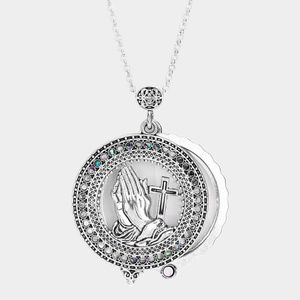 Religious Magnifying Glass Pendant Long Necklace